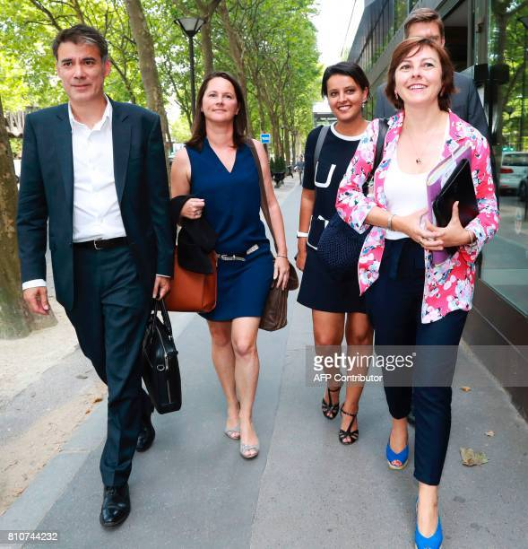Members of the French Socialist party including French former minister and member of the French Socialist Party Najat VallaudBelkacem and President...