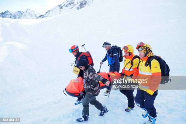 Members of the French Spanish and Andorran mountain rescue services jointly participate in an avalanche rescue exercise organized by the...