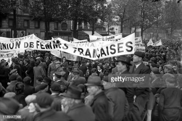 Members of the French Women Union parade during the May Day protests on May 01 1945 on the Place de la Bastille in Paris