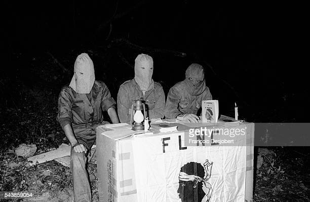 Members of the Fronte di Liberazione Naziunale di a Corsica hold a press conference about their bombing of the Mount Pigno TV and radio relay station...