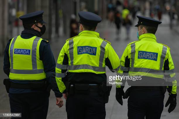 Members of the Garda Siochana patrolling street in Dublin city center during Level 5 Covid-19 lockdown. Ireland has the highest Covid-19 infection...