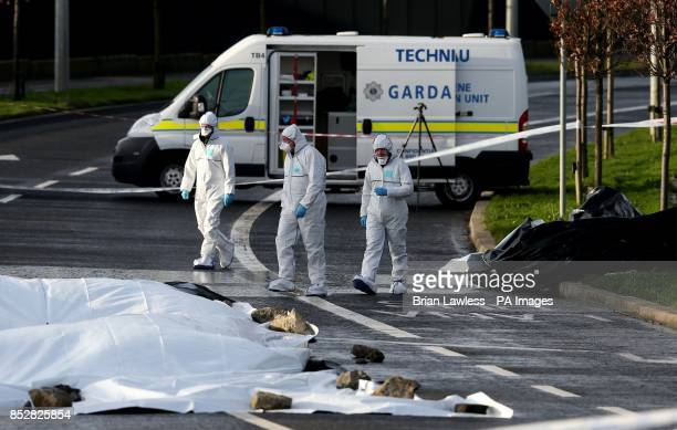 Members of the Garda Technical Bureau at a crime scene on the Ballycoolin Road in Finglas Dublin where a man was shot dead yesterday