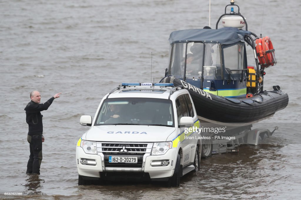 Members of the Garda Water unit prepare to join the search for an Irish Coast Guard helicopter which went missing off the west coast of Ireland in the early hours of the morning.