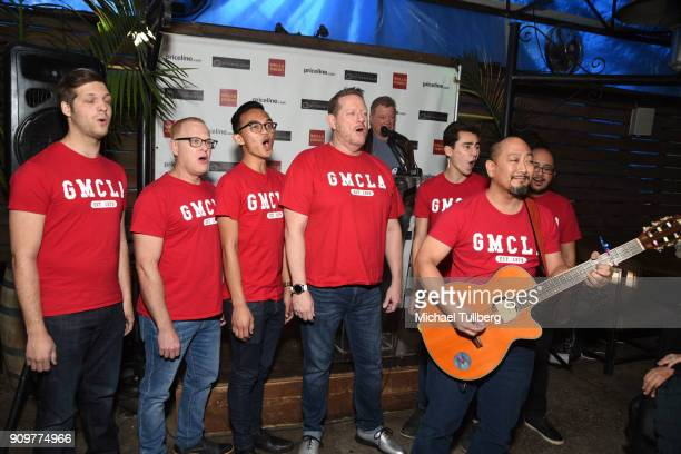 Members of the Gay Men's Chorus of Los Angeles performs for actor William Shatner at a gifting ceremony for charities supported by the annual...