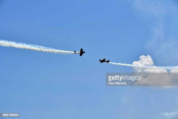 Members of the GEICO Skytypers team rehearse at the 2018 Great New England Air and Space Show Media Day at Westover Air Force Base on July 13 2018 in...