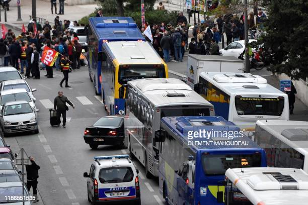 Members of the General Confederation of Labour a French trade union and demonstrators block the buses leaving from the bus station by the Saint...
