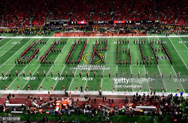 Members of the Georgia Bulldogs Band perform before the CFP National Championship presented by ATT against the Alabama Crimson Tide at MercedesBenz...