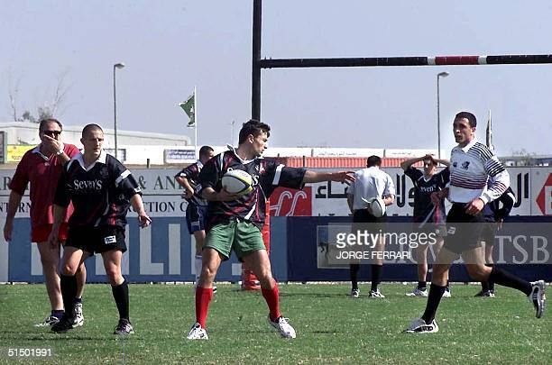 Members of the Georgia rugby national team practice in preparation for the Rugby Sevens tournament in Dubai 30 November 1999. The three-day event...