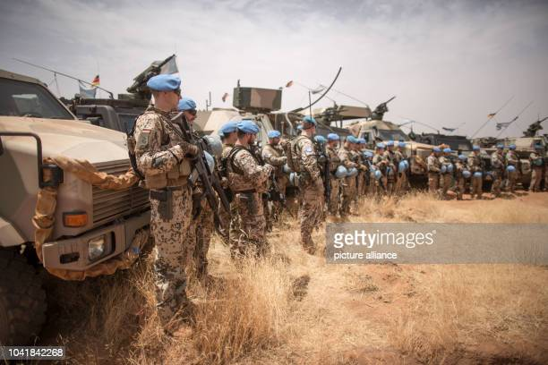 Members of the German armed forces pictured during a drill at Camp Castor in Gao, Mali, 05 April 2016. Members of the German armed forces have been...