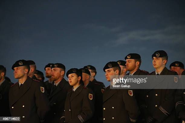Members of the German armed forces the Bundeswehr attend a ceremony in front of the Reichstag to mark the 60th anniversary of the Bundeswehr on...
