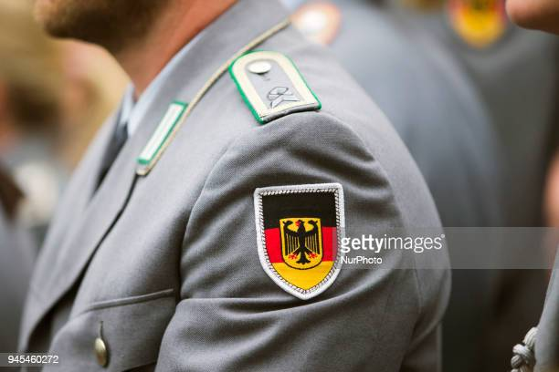 Members of the German Army attends a ceremony to honour the members of the Bundeswehr who attended the Winter Olympic Games in Pyeongchang at the...