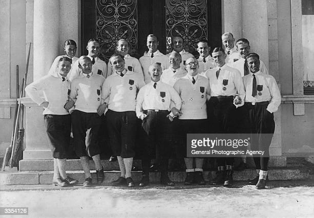 Members of the German bobsleigh team at the 1928 Winter Olympics in St Moritz Switzerland including the third placed fourman team Hanns Kilian...