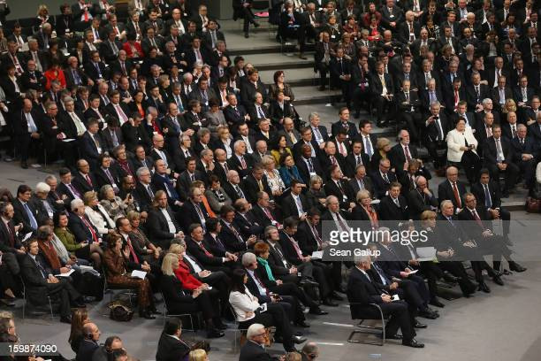 Members of the German Bundestag and French Assemble Nationale including German Chancellor Angela Merkel and French President Francois Hollande as...