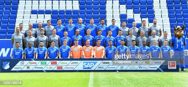 Members of the German first division Bundesliga football team TSG 1899 Hoffenheim pose for a team photo during the team presentation in Sinsheim...