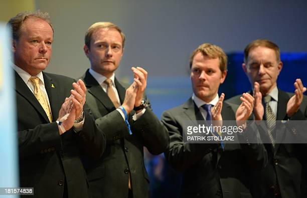 Members of the German free democratic FDP party German Minister for Economic Cooperation and Development Dirk Niebel FDP vicechairman Christian...