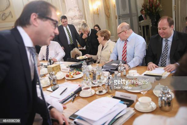 Members of the German government cabinet including Chancellor Angela Merkel Vice Chancellor and Economy and Energy Minister Sigmar Gabriel Transport...
