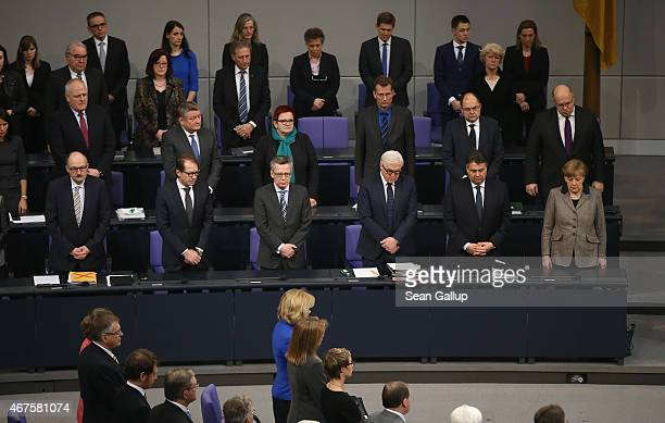Members of the German government including German Chancellor Angela Merkel and Vice Chancellor and Economy and Energy Minister Sigmar Gabriel observe...