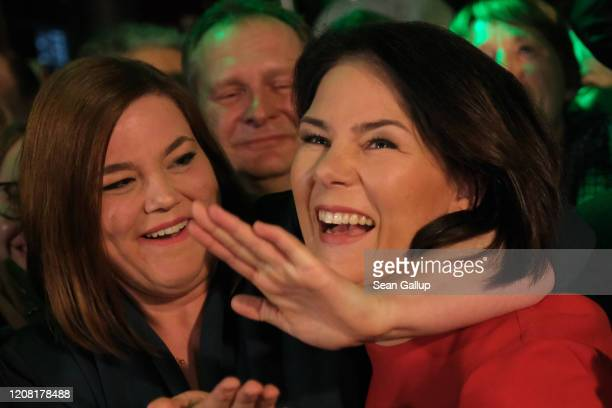 Members of the German Greens party including coleader Annalena Baerbock and local candidate Katharina Fegebank react to initial exit polls that give...