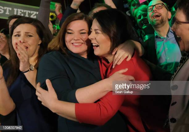 Members of the German Greens party, including co-leader Annalena Baerbock and local candidate Katharina Fegebank , react to initial exit polls that...