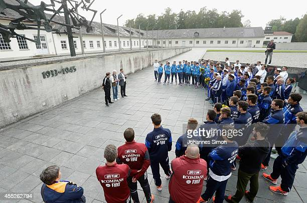 Members of the German Israel and Italian U17 national football teams participate in a memorial ceremony at the Concentration Camp Memorial Dachau on...