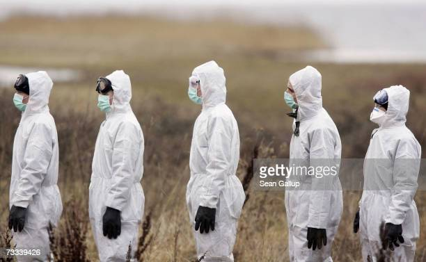 Members of the German military the Bundeswehr wait to have their suits decontaminated after a search for dead birds near Waase on Ruegen Island in...