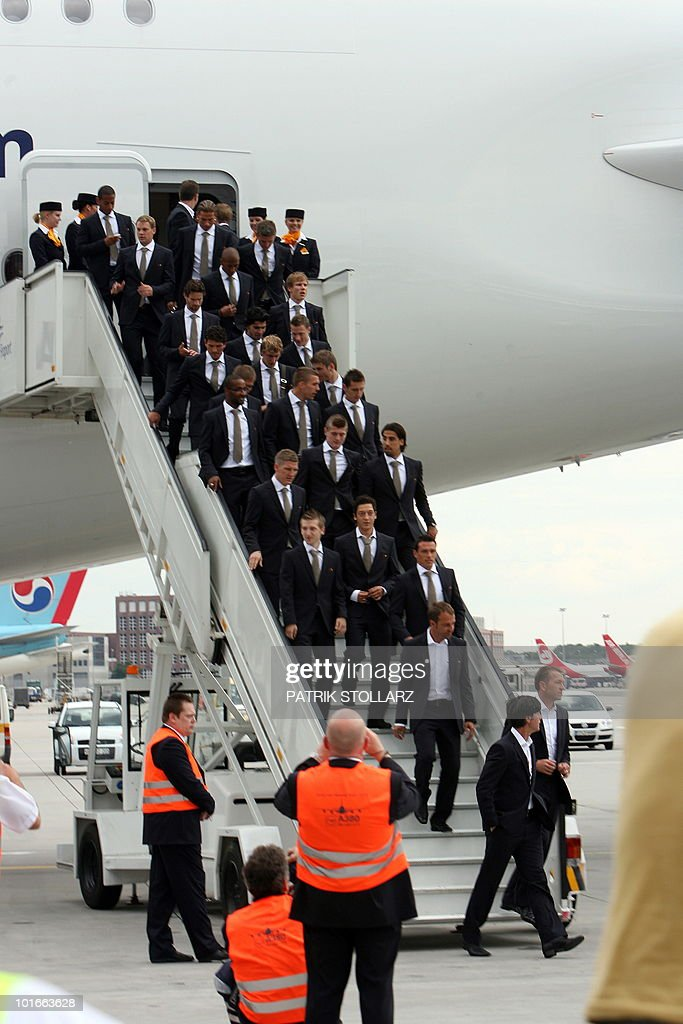 Members of the German national football team pose in front of an Airbus A380 of German airline Lufthansa before leaving for the FIFA Football World Cup 2010 in South Africa on June 6, 2010 at the airport in Frankfurt/M., western Germany. South Africa hosts the 2010 World Cup from June 11 to July 11.