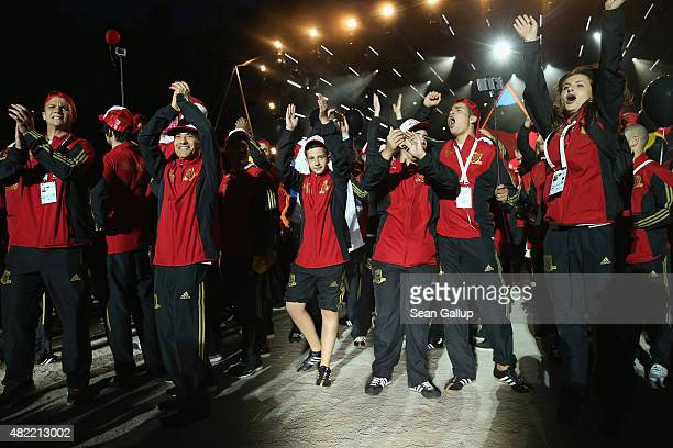 Members of the German national team arrive at the official opening ceremony of the European Maccabi Games at the Waldbuehne on July 28 2015 in Berlin...