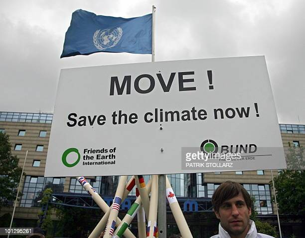 Members of the German organisation for the protection of the environment BUND demonstrate in front of the venue where is taking place a UN conference...
