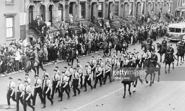 800 members of the GermanAmerican Bund parading through the streets of New York