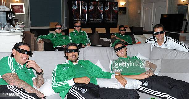 Members of the Germany national squad including Tim Wiese, Sami Khedira, Mesut Ozil, team manager Oliver Bierhoff and Andre Schuerrle, Marco Reus and...