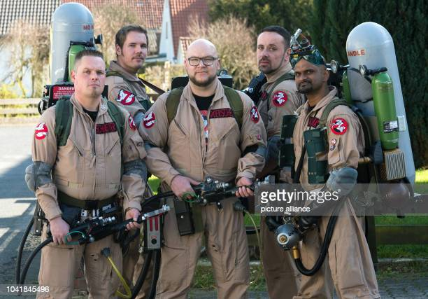 Members of the Ghostbusters fan club 'Ghostbusters Niedersachsen' Hennig Friedrichs Thomas Nelson Olli Doerschel Christian Roehrs and Shan Kumar pose...