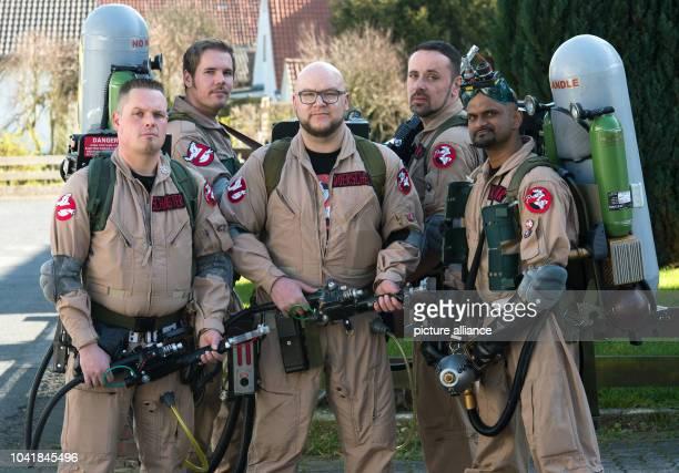 Members of the Ghostbusters fan club 'Ghostbusters Niedersachsen' Hennig Friedrichs Thomas Nelson Olli Doerschel Christian Roehrs and Shan Kumar pose...