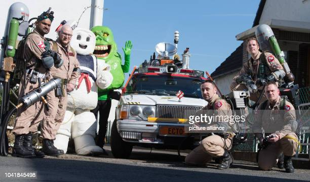 Members of the Ghostbusters fan club 'Ghostbusters Niedersachsen' Shan Kumar Olli Doerschel Christian Roehrs Thomas Neslon and Hennig Friedrichs pose...