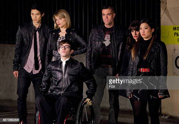 """Members of the glee club confront the Warblers in the """"Michael"""" episode of GLEE airing Tuesday, Jan. 31 on FOX. Pictured L-R: Harry Shum Jr., Dianna..."""