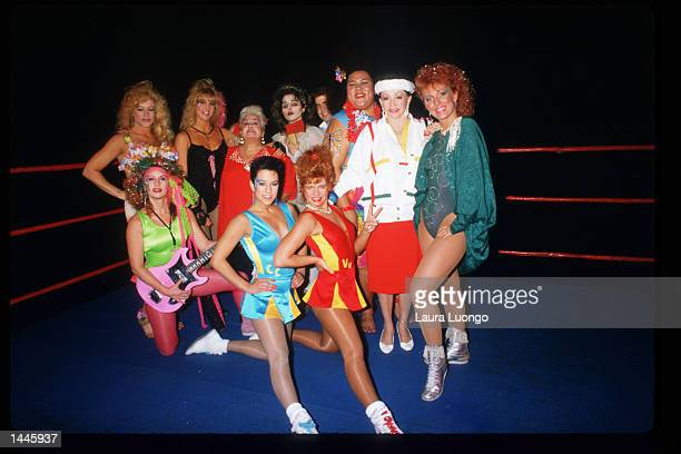 Members of the GLOW Girls pose in the ring May 4 1988 in Los Angeles CA Jacqueline Stallone manages the allfemale wrestling team GLOW Girls which has...