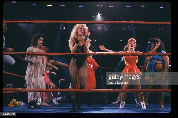 Members of the GLOW Girls stand in the ring May 4 1988 in Los Angeles CA Jacqueline Stallone manages the allfemale wrestling team GLOW Girls which...