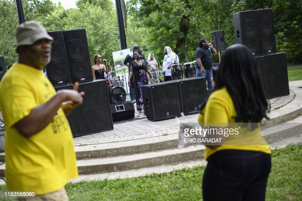 Members of the gogo music band Body of Evidence perform during Summer Peace Jam 2019 at the Marvin Gaye Park in Washington DC on June 29 2019 Gogo is...