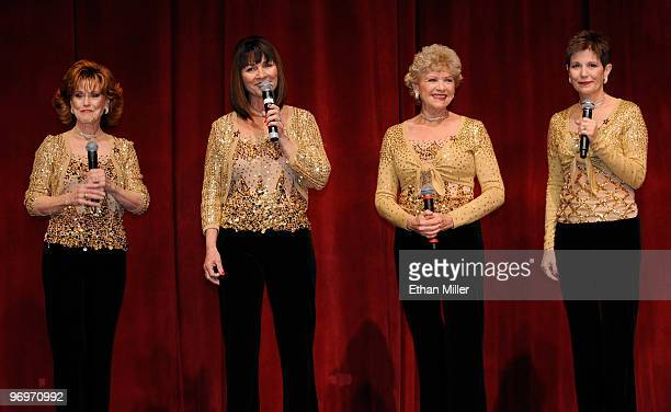 Members of The Golddiggers singers and dancers from The Dean Martin Show Susie Ewing Sheila Allan Suzy Cadham and Rosie Gitlin perform during a Las...