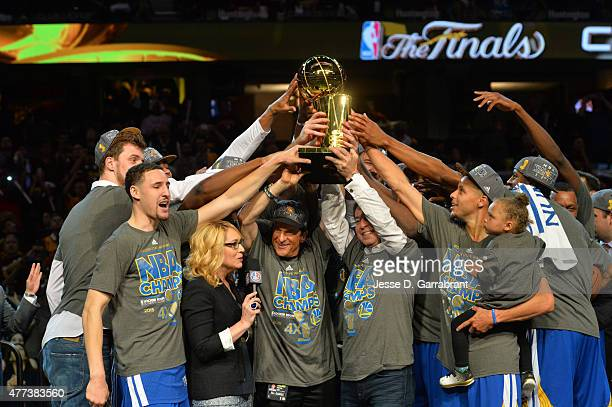 Members of the Golden State Warriors gather together after winning the NBA Championship against the Cleveland Cavaliers at the Quicken Loans Arena...