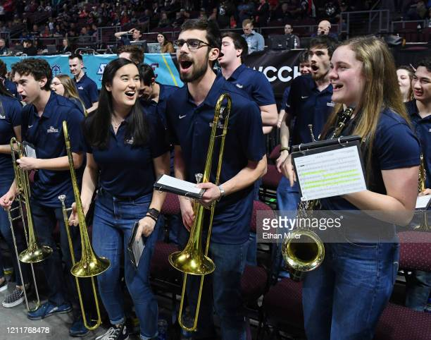 Members of the Gonzaga Bulldogs band perform before the team takes on the Saint Mary's Gaels in the championship game of the West Coast Conference...