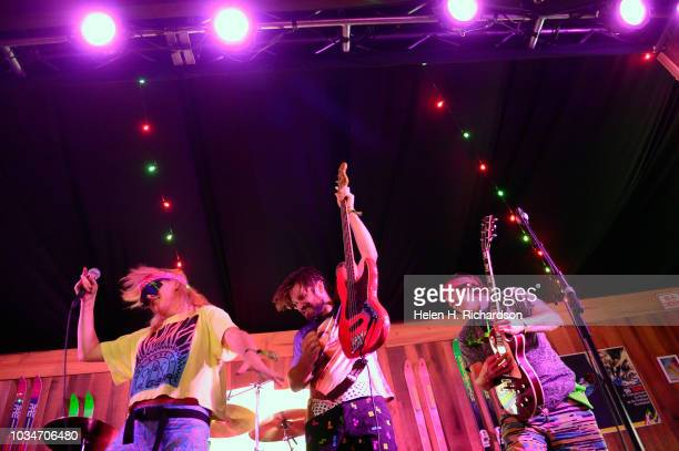Members of the Goonies perform in the 80's Ski Lodge during of the Grandoozy Music festival at Overland Park on September 16 2018 in Denver Colorado...