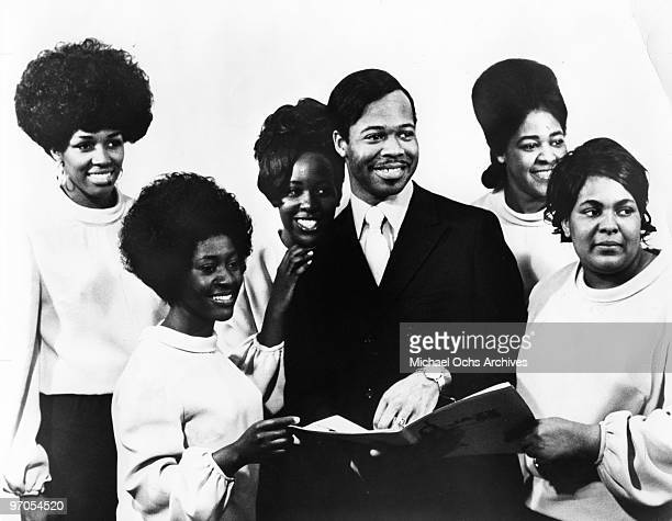 Members of the gospel group 'The Edwin Hawkins Singers' pose for a portrait in circa 1968