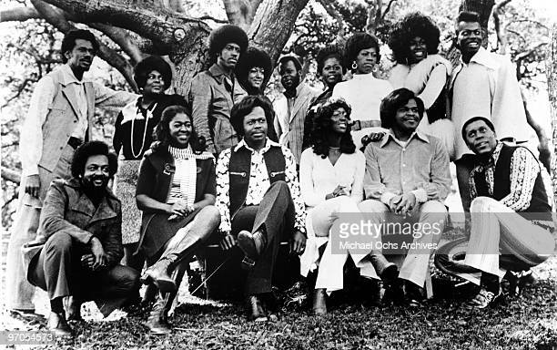 Members of the gospel group 'The Edwin Hawkins Singers' pose for a portrait in circa 1975