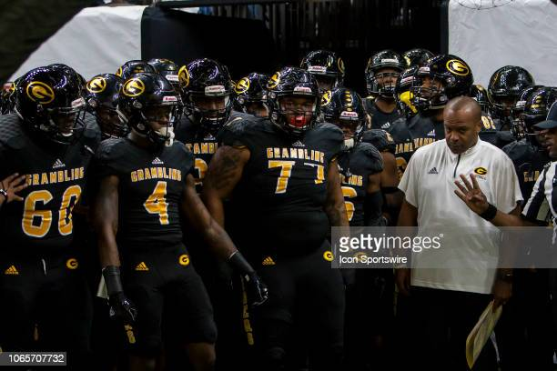 Members of the Grambling State Football team prepare to take the field prior to the 45th annual State Farm Bayou Classic game between the Southern...