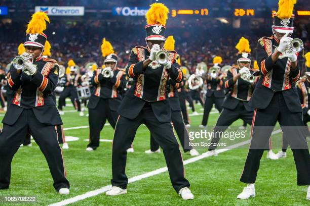 """Members of the Grambling State """"World Famed"""" Band performs at halftime during the 45th annual State Farm Bayou Classic game between the Southern..."""