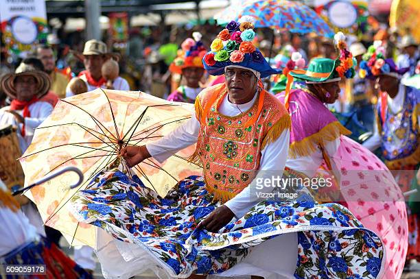 Members of The Gran Parade take part of the Barranquilla Carnival on February 07 2016 in Barranquilla Colombia The Carnival is one of the most...
