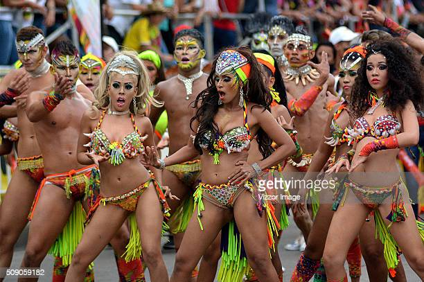 Members of The Gran Parade take part of the Barranquilla Carnival on February 07, 2016 in Barranquilla, Colombia. The Carnival is one of the most...
