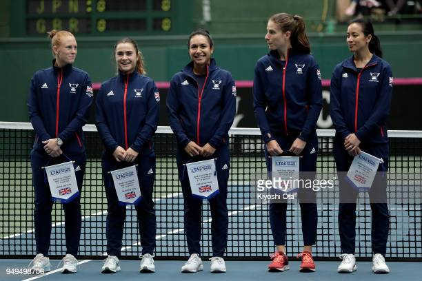 Members of the Great Britain Fed Cup team Anna Smith Gabriella Taylor Heather Watson Johanna Konta and team captain Anne Keothavong line up at the...