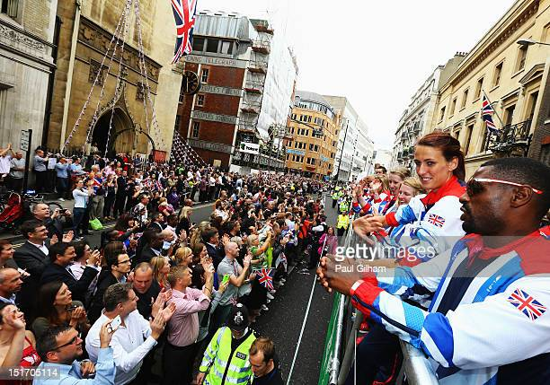 Members of the Great Britain goalball team take part in the London 2012 Victory Parade for Team GB and Paralympics GB athletes through central London...