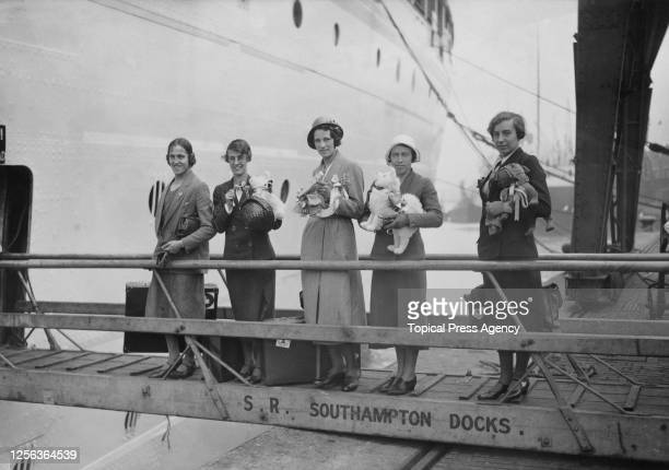 Members of the Great Britain Olympic team , British runner Eileen Hiscock , and British runner Violet Webb ) boarding the Canadian Pacific liner...